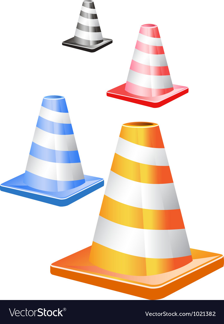 Traffic cones in a row vector | Price: 1 Credit (USD $1)