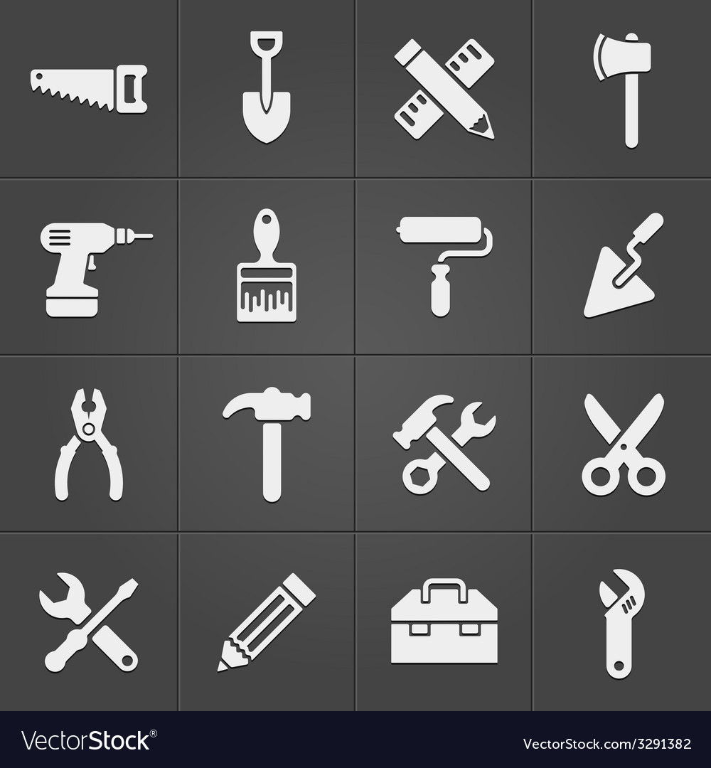 Working instrument tool icons on black vector | Price: 1 Credit (USD $1)