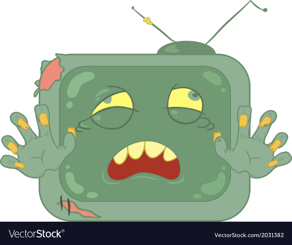 Zombie television on white background vector | Price: 1 Credit (USD $1)