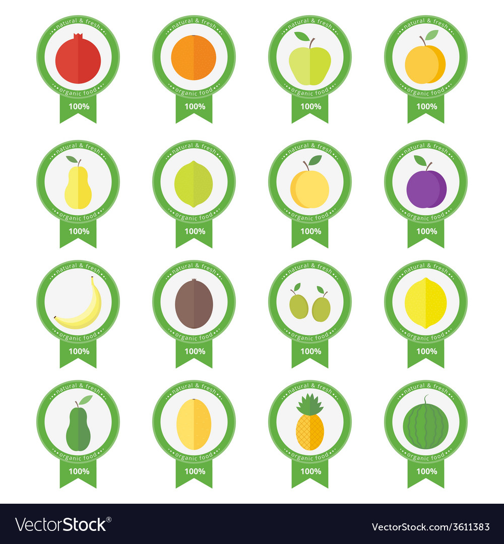 Banners stickers with fresh fruits and berries vector | Price: 1 Credit (USD $1)