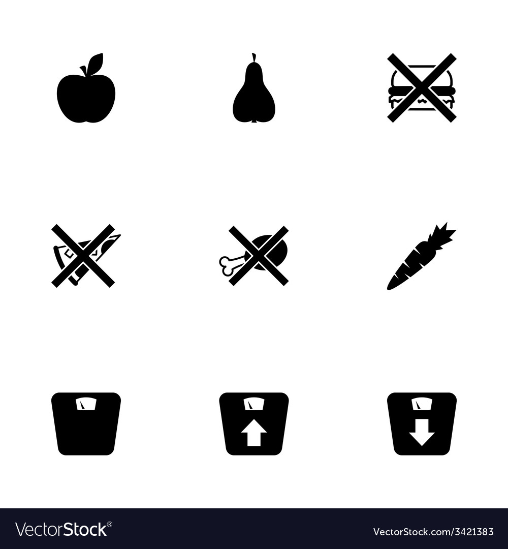 Black diet icon set vector | Price: 1 Credit (USD $1)