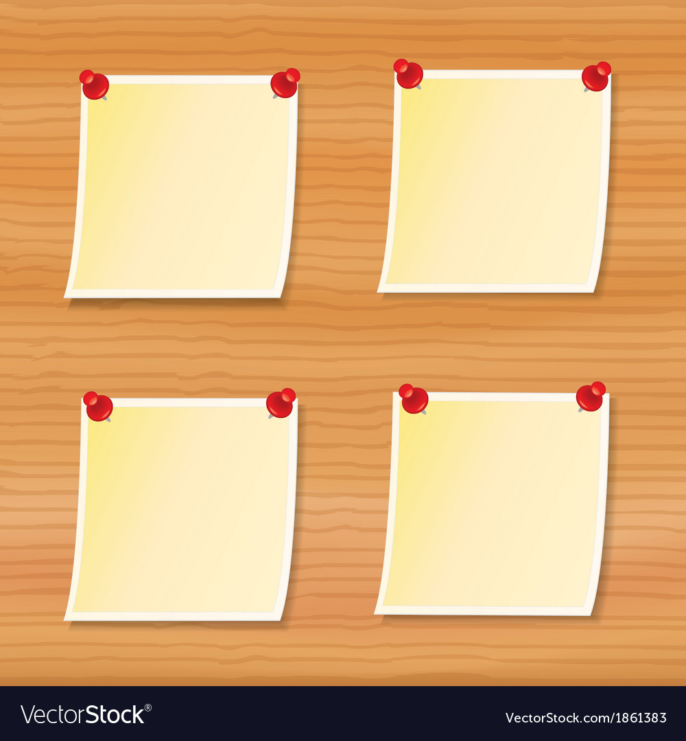 Blank notes pinned to wood vector | Price: 1 Credit (USD $1)