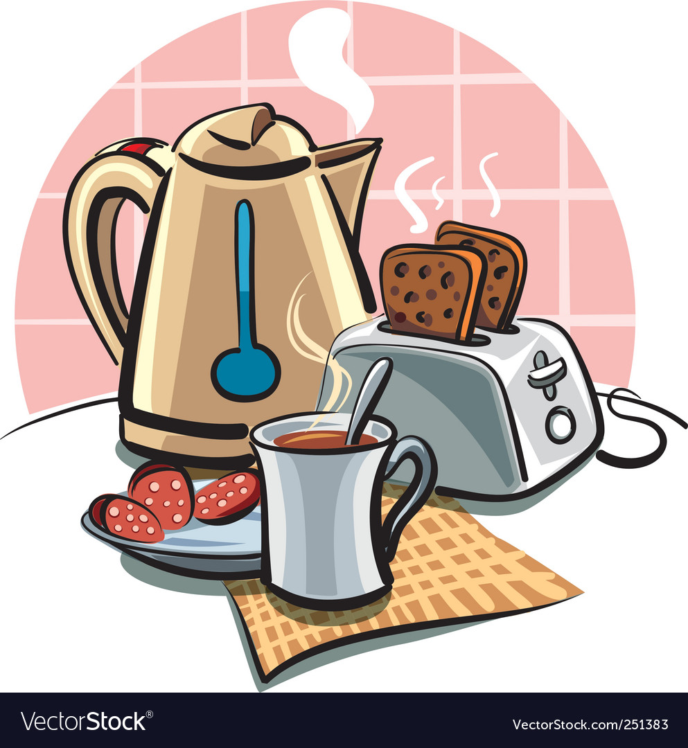 Breakfast with toast vector | Price: 3 Credit (USD $3)