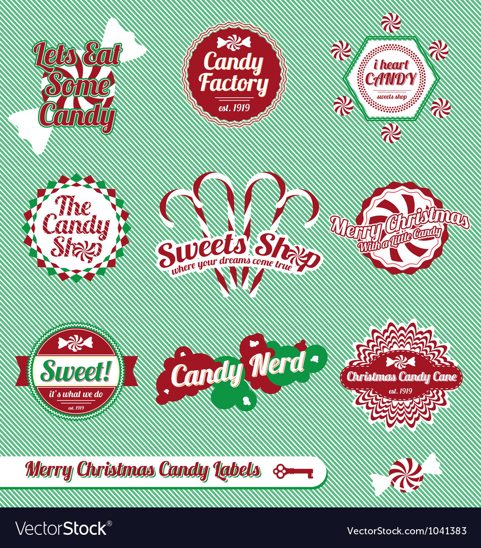 Christmas candy labels and icons vector | Price: 1 Credit (USD $1)
