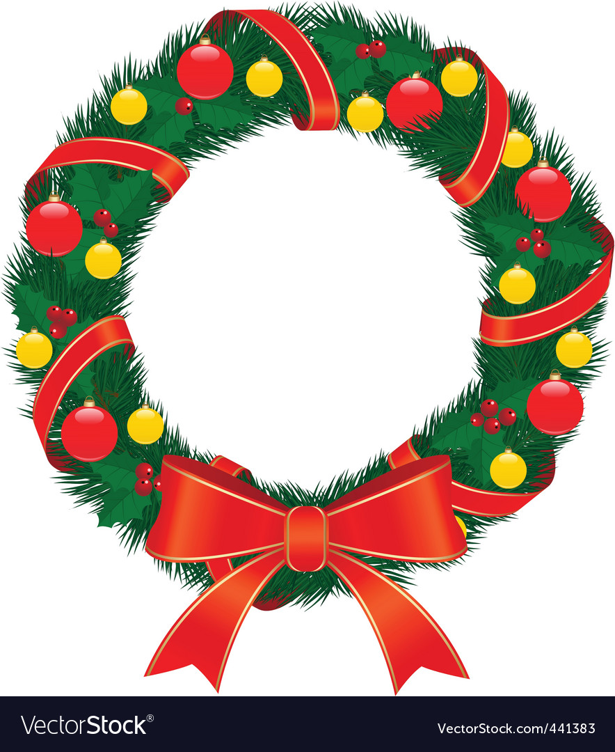 Christmas wreath with red bow vector | Price: 1 Credit (USD $1)