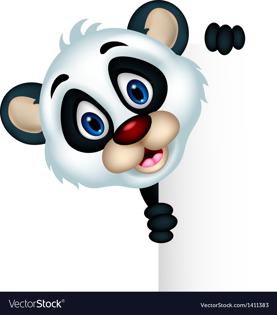 Cute baby panda holding blank sign vector | Price: 1 Credit (USD $1)