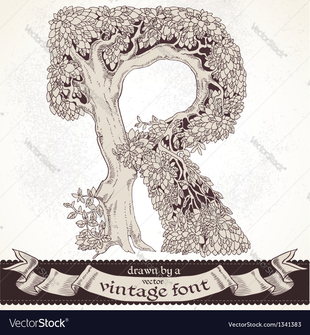 Fable forest hand drawn by a vintage font - r vector | Price: 1 Credit (USD $1)