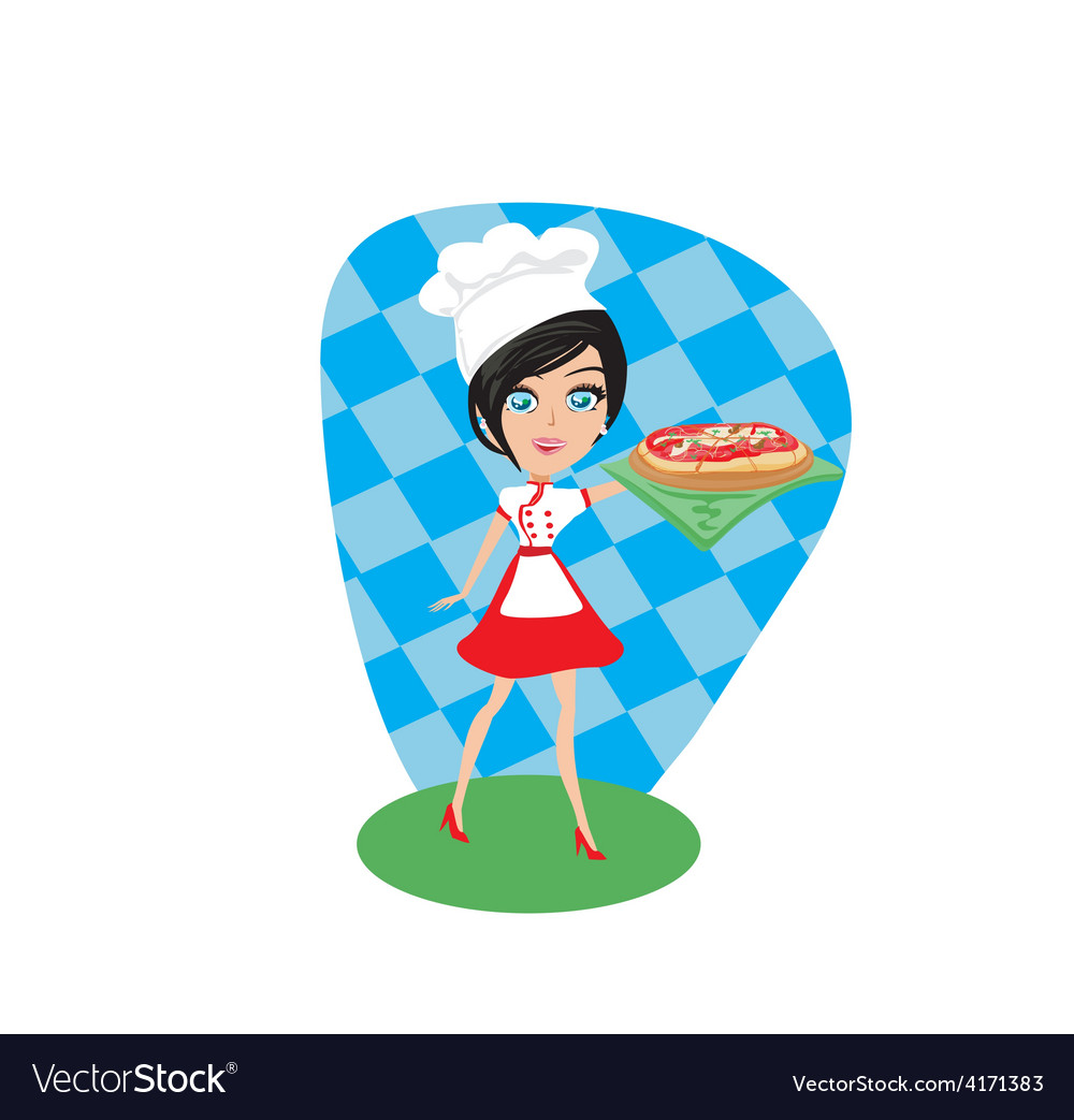 Girl presenting a delicious pizza vector | Price: 1 Credit (USD $1)