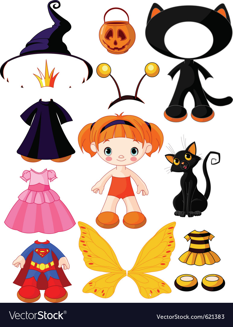 Halloween doll with dresses vector | Price: 3 Credit (USD $3)