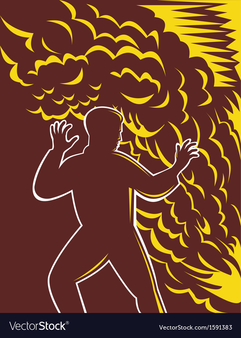 Man scared in front of burning fire and smoke vector | Price: 1 Credit (USD $1)