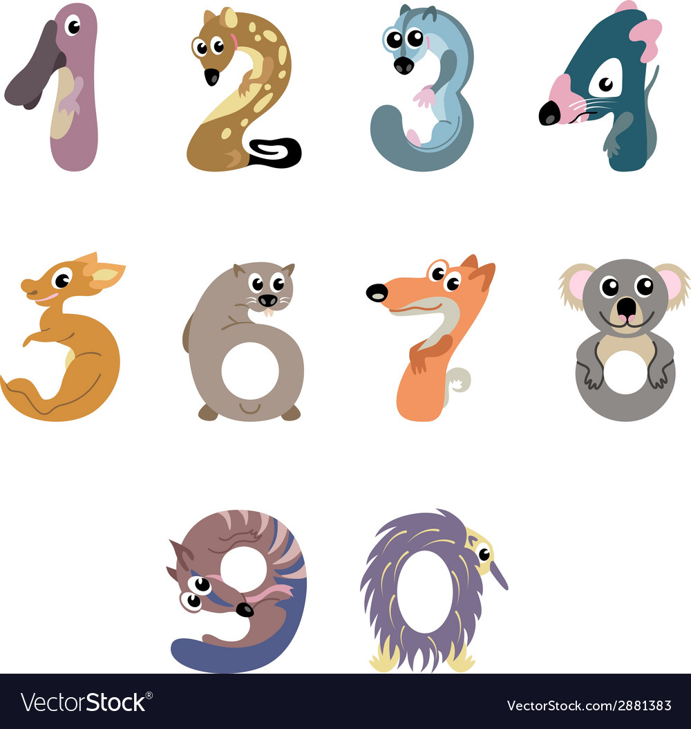 Numbers like australian animals vector | Price: 1 Credit (USD $1)