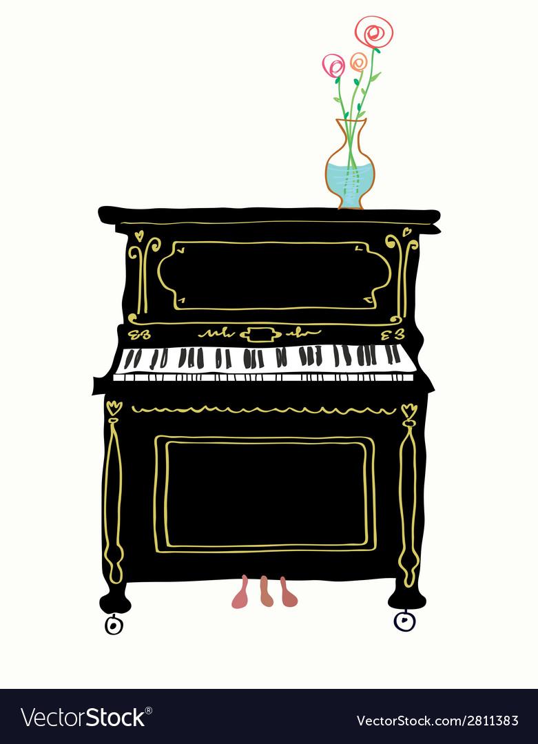 Piano card hand drawn vector | Price: 1 Credit (USD $1)