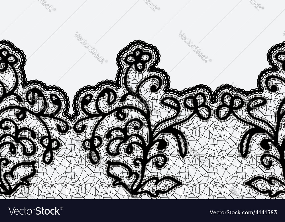 Seamless horizontal lace ribbon with flowers vector | Price: 1 Credit (USD $1)
