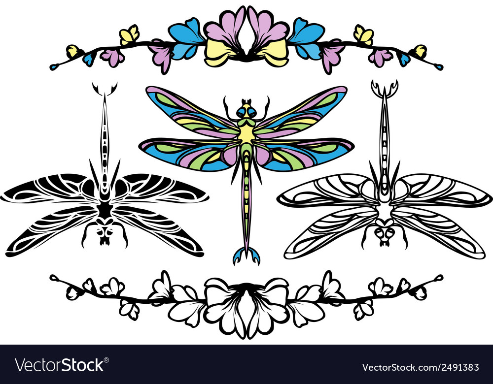 Set dragonflies color stencil and black variants vector | Price: 1 Credit (USD $1)