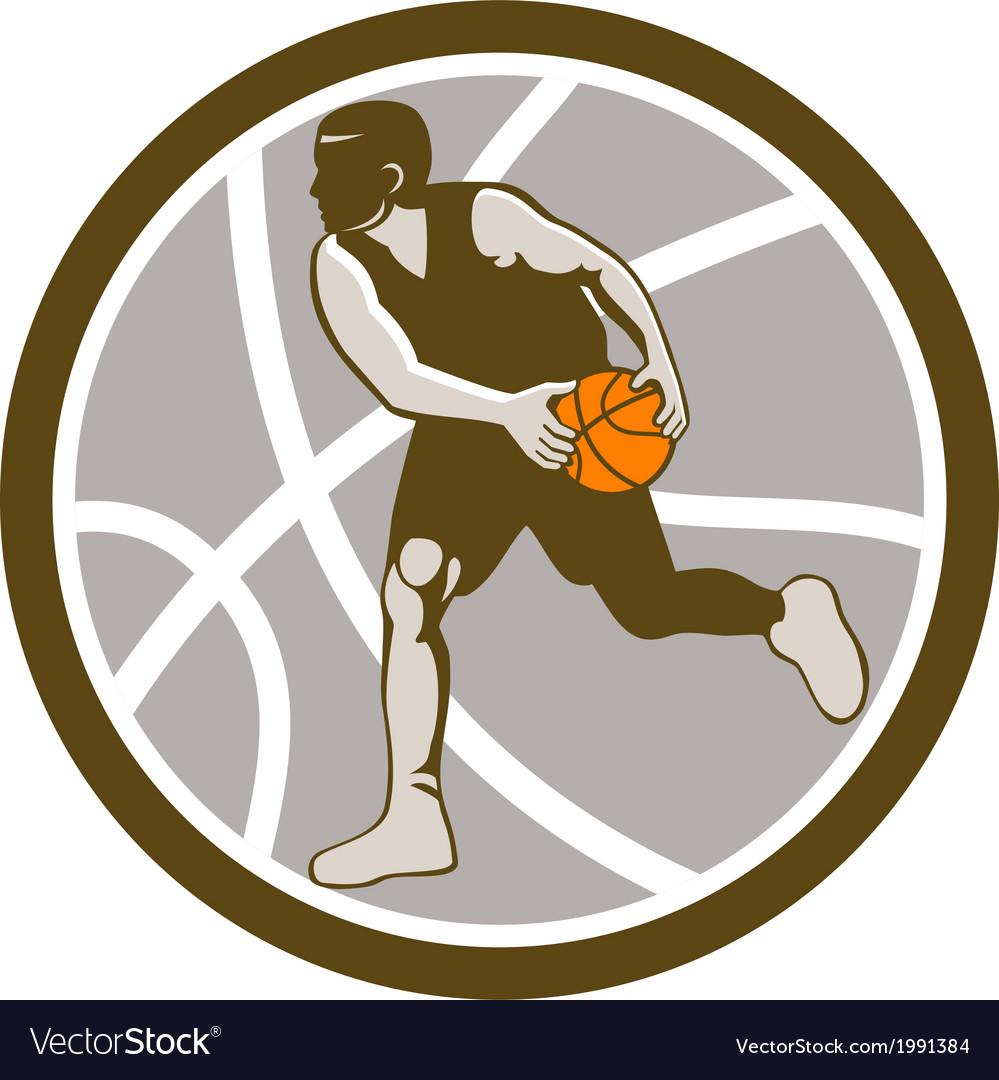 Basketball player dribbling ball circle retro vector   Price: 1 Credit (USD $1)