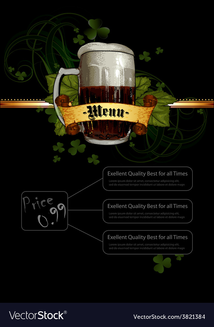Beer menu vector | Price: 3 Credit (USD $3)