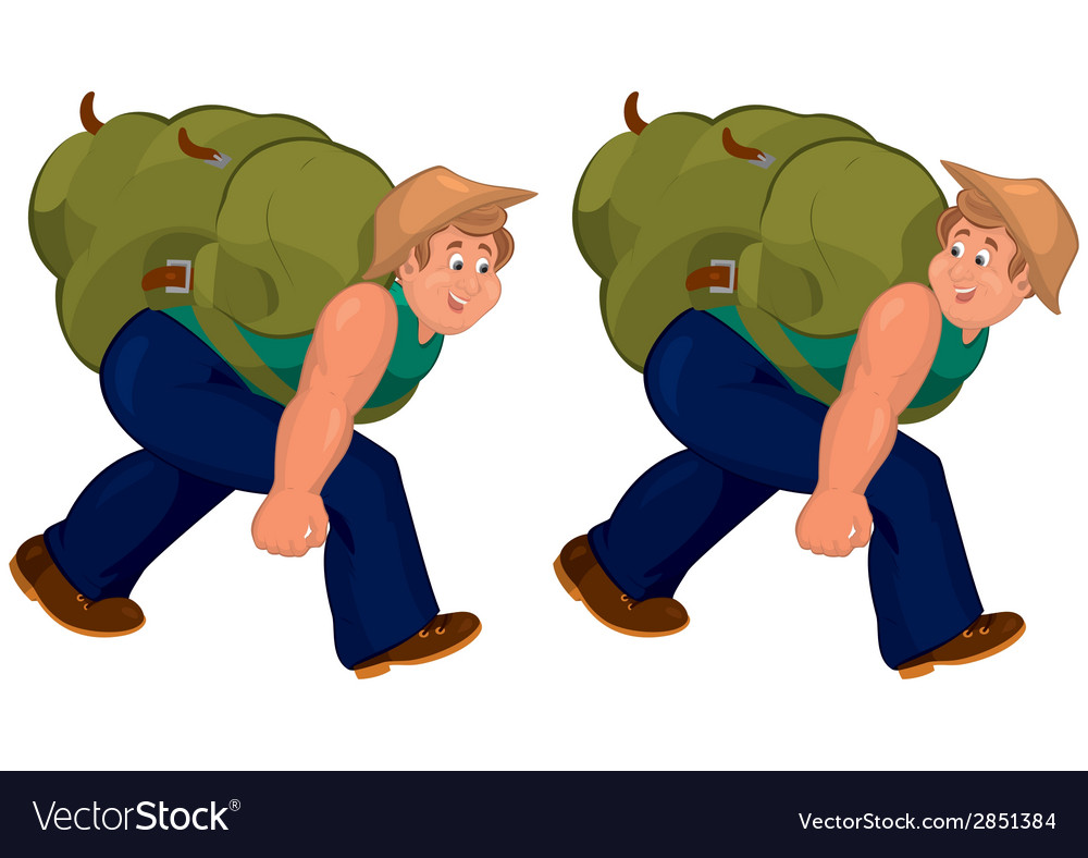 Happy cartoon man walking with heavy backpack vector | Price: 1 Credit (USD $1)