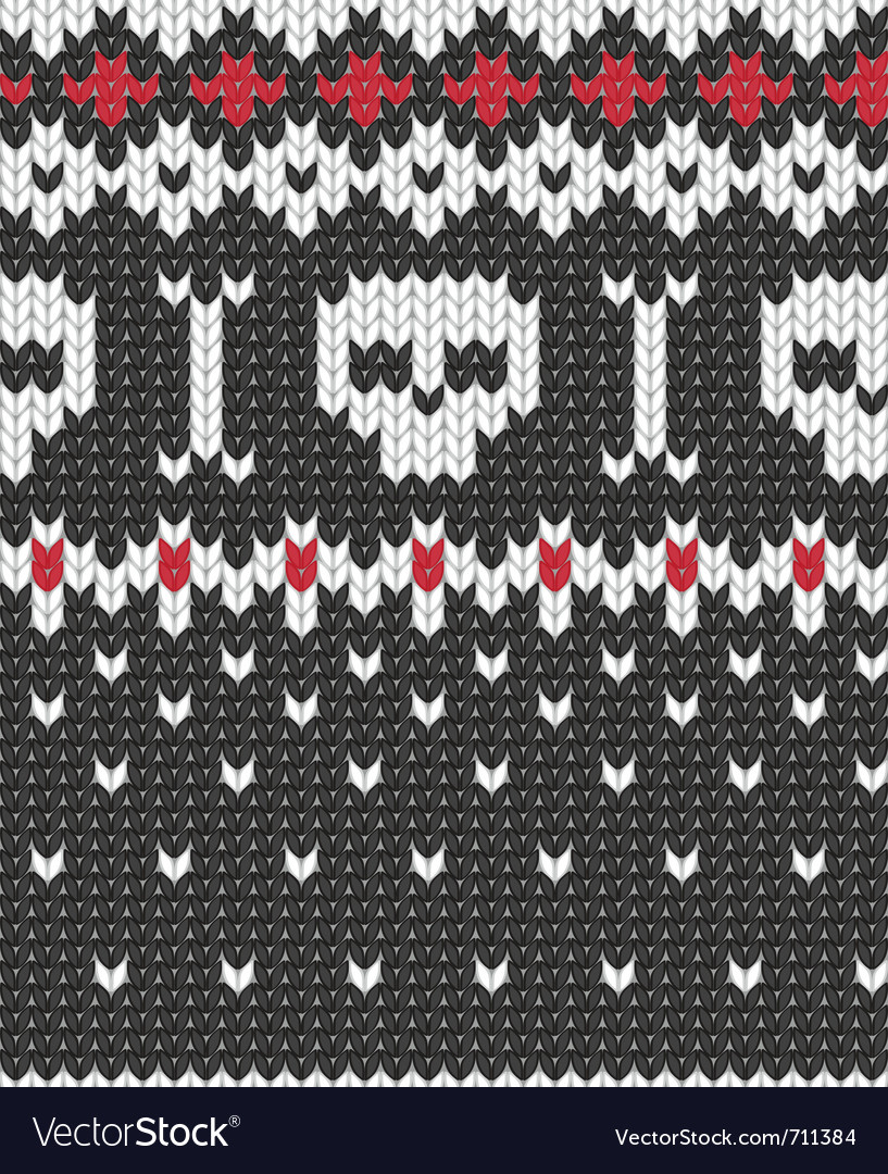 Knitted pattern with skulls vector | Price: 1 Credit (USD $1)