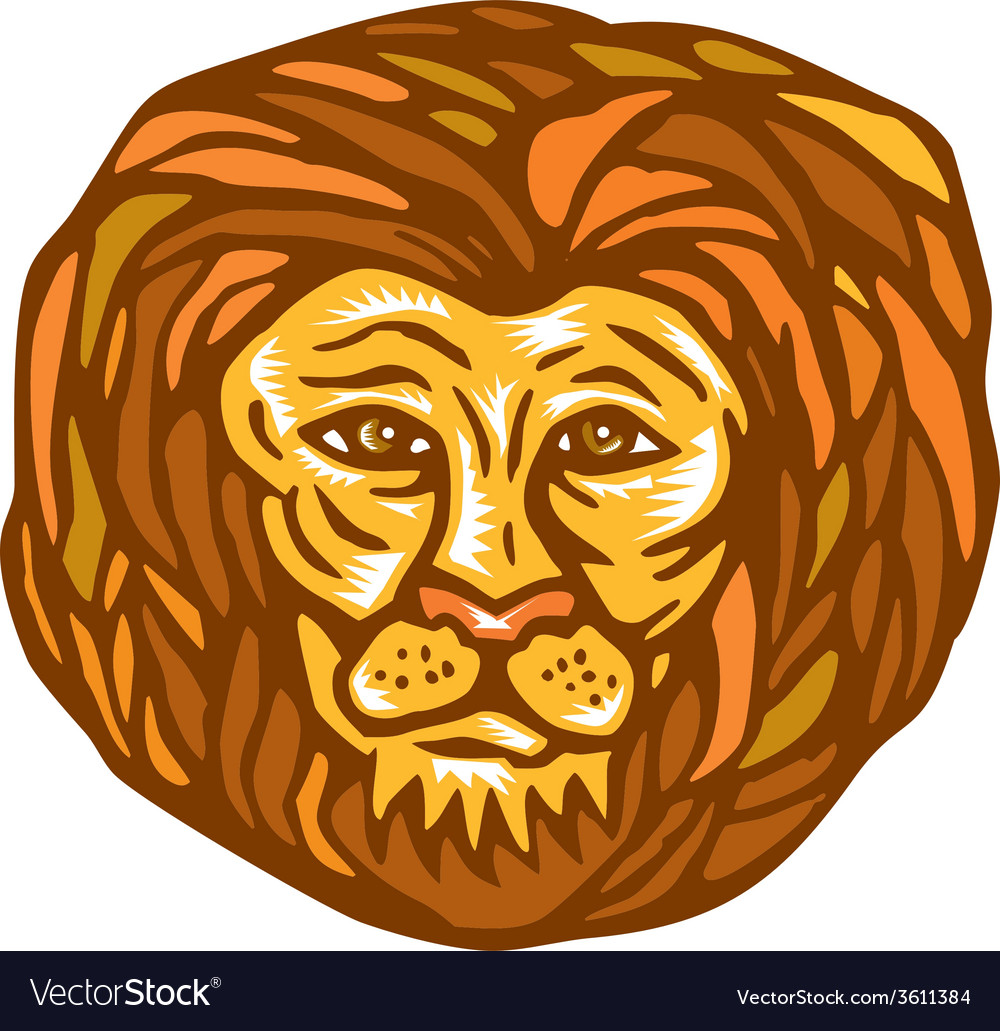 Lion head woodcut linocut vector | Price: 1 Credit (USD $1)
