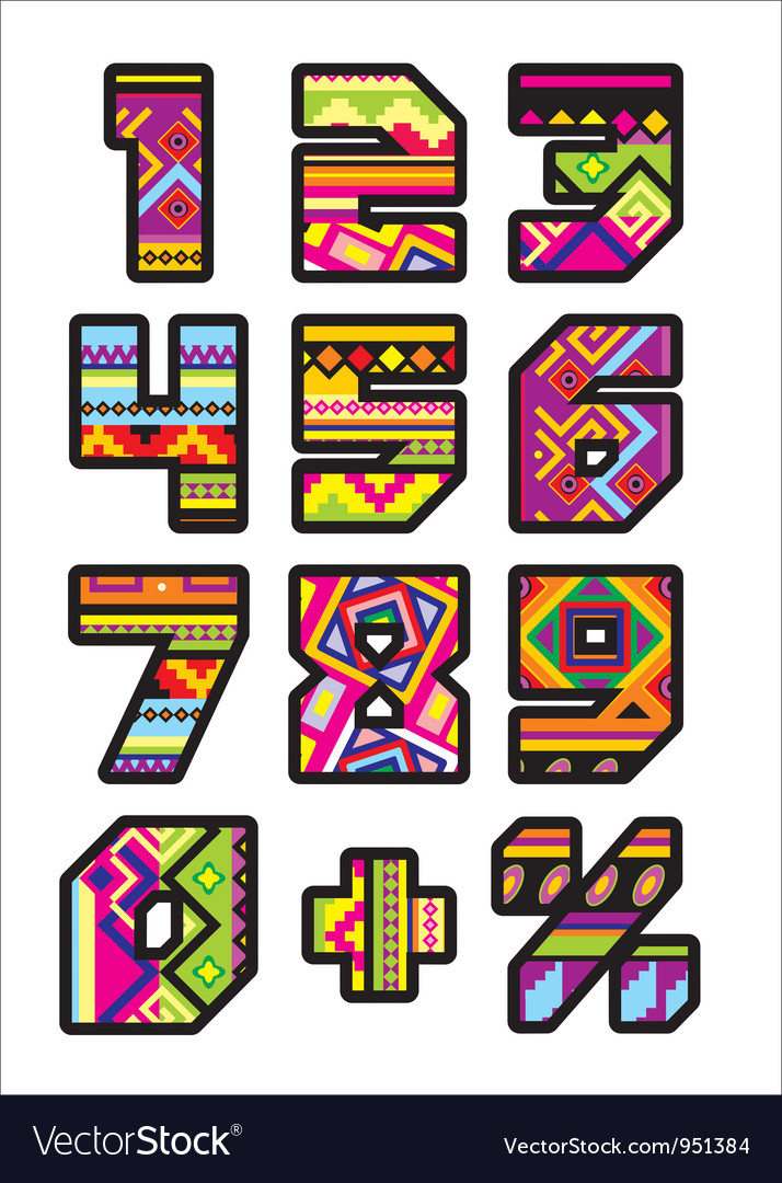 Mexican numbers vector | Price: 1 Credit (USD $1)