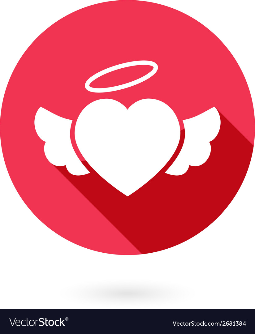 Red winged heart icon with shadow vector | Price: 1 Credit (USD $1)