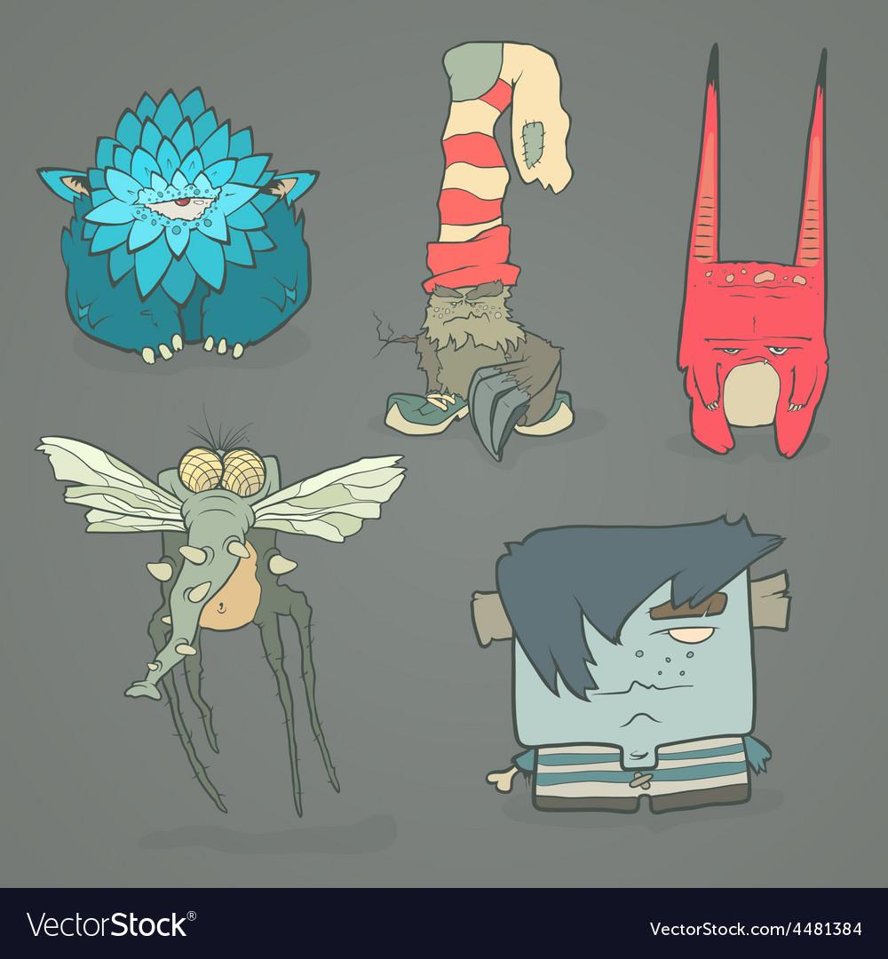 Set of cartoon cute monsters vector | Price: 1 Credit (USD $1)