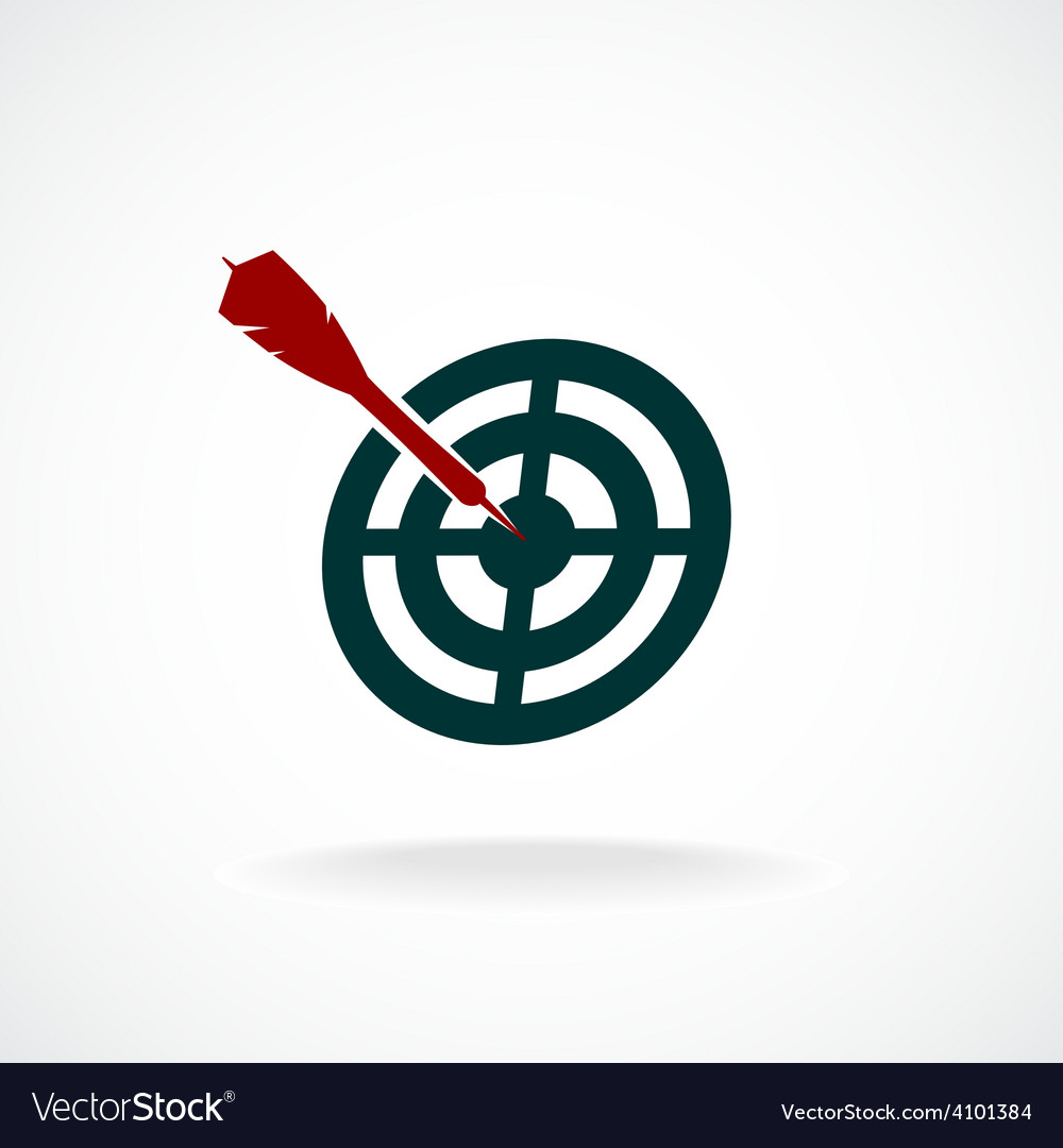 Target icon with dart in a center vector | Price: 1 Credit (USD $1)