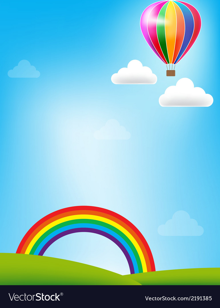 Balloon and rainbow on blue sky background vector | Price: 1 Credit (USD $1)