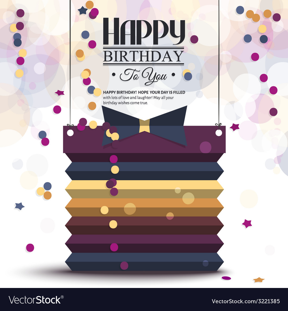 Birthday card with gift box in the style of flat vector | Price: 1 Credit (USD $1)