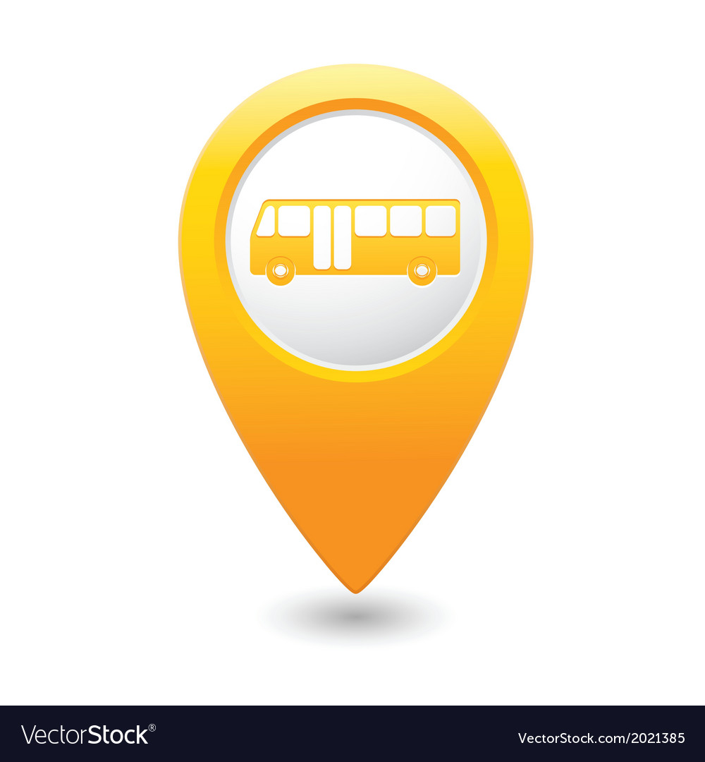 Bus icon yellow map pointer vector | Price: 1 Credit (USD $1)