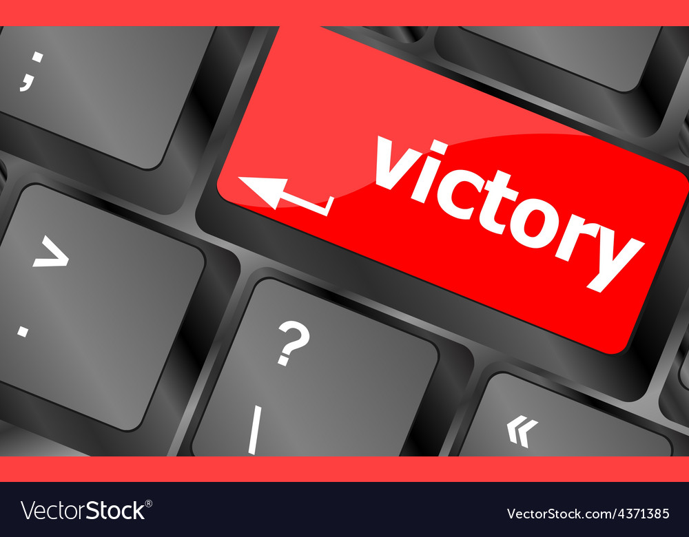 Computer keyboard with victory key vector | Price: 1 Credit (USD $1)