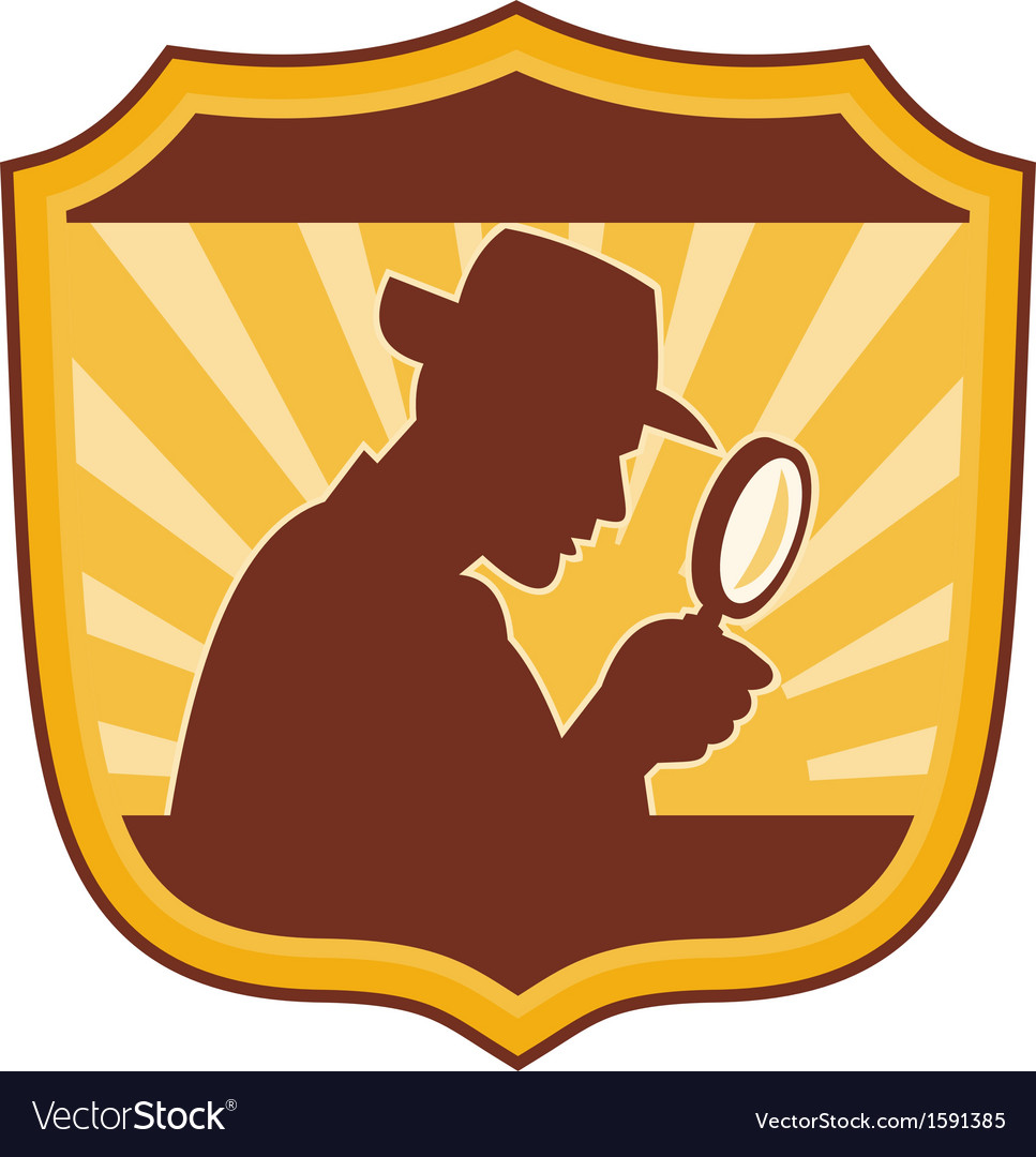 Detective inspector with magnifying glass vector | Price: 1 Credit (USD $1)