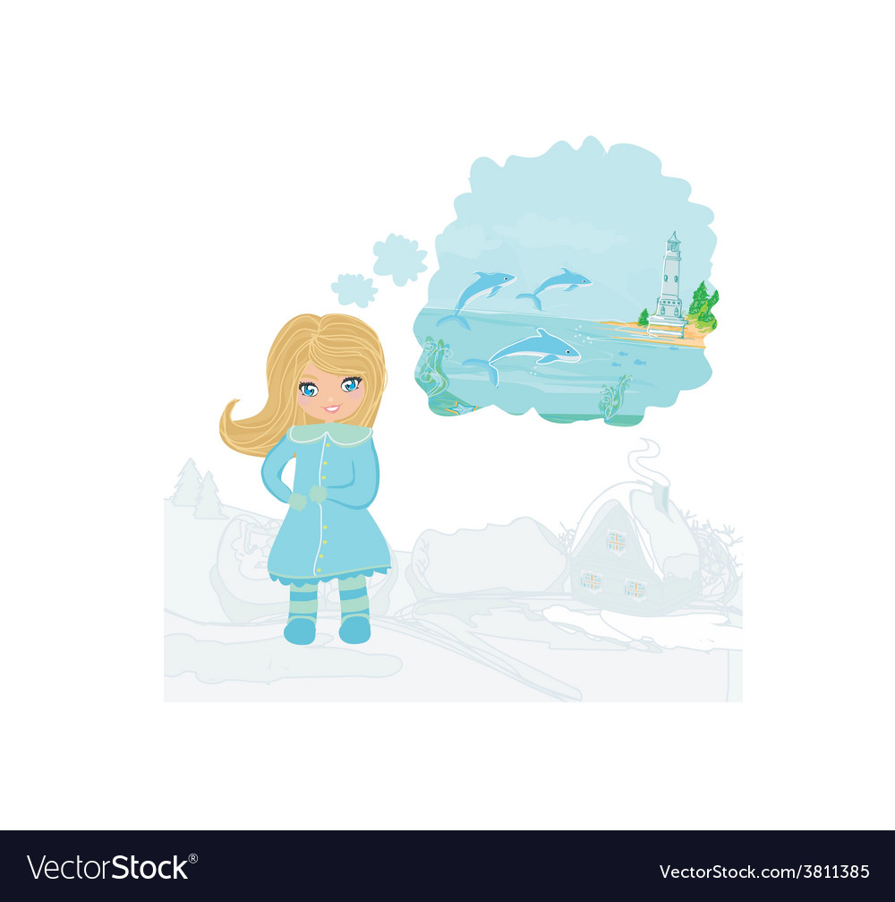 Girl dreaming about summer vector | Price: 1 Credit (USD $1)