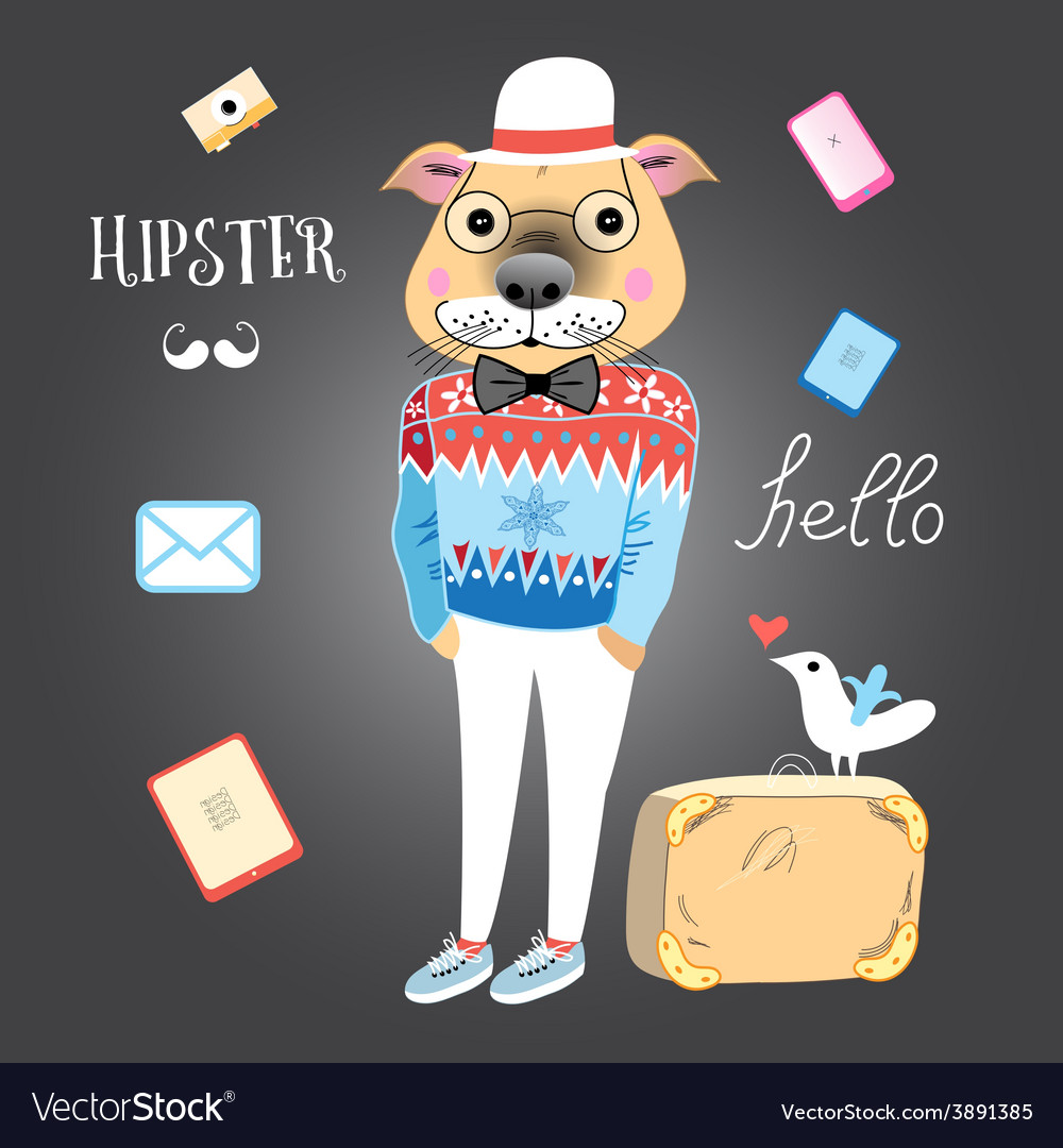 Hipster dog vector | Price: 1 Credit (USD $1)