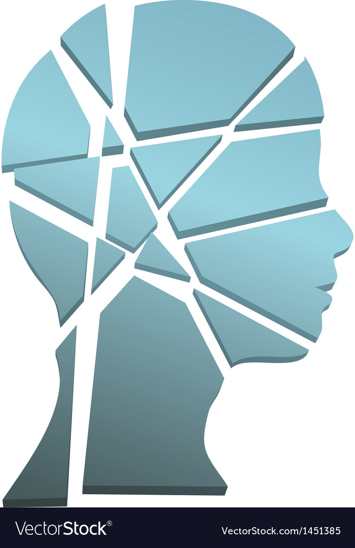 Mental health concept person head shattered to vector | Price: 1 Credit (USD $1)