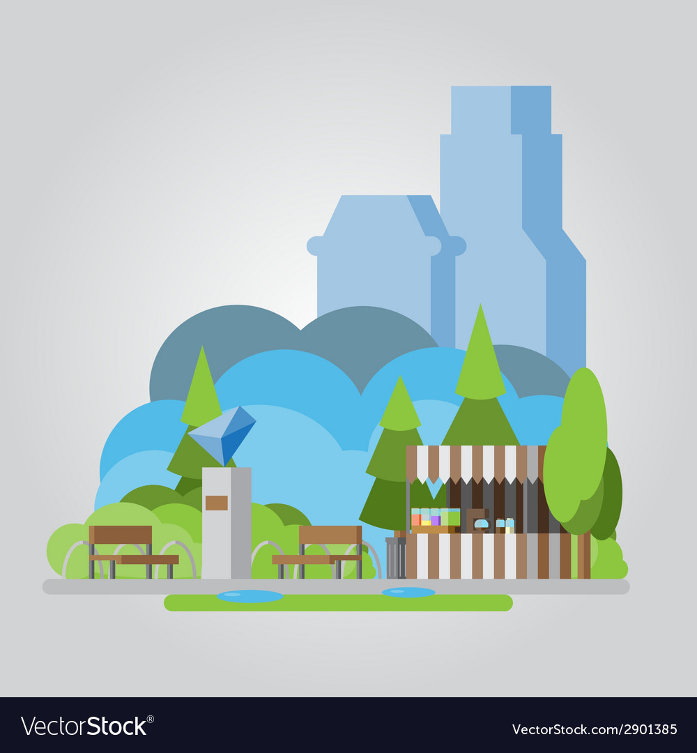 Modern flat design park vector | Price: 1 Credit (USD $1)