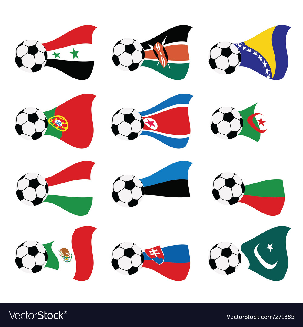 National soccer flags vector | Price: 1 Credit (USD $1)