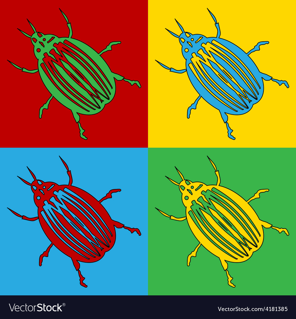 Pop art bug icons vector | Price: 1 Credit (USD $1)
