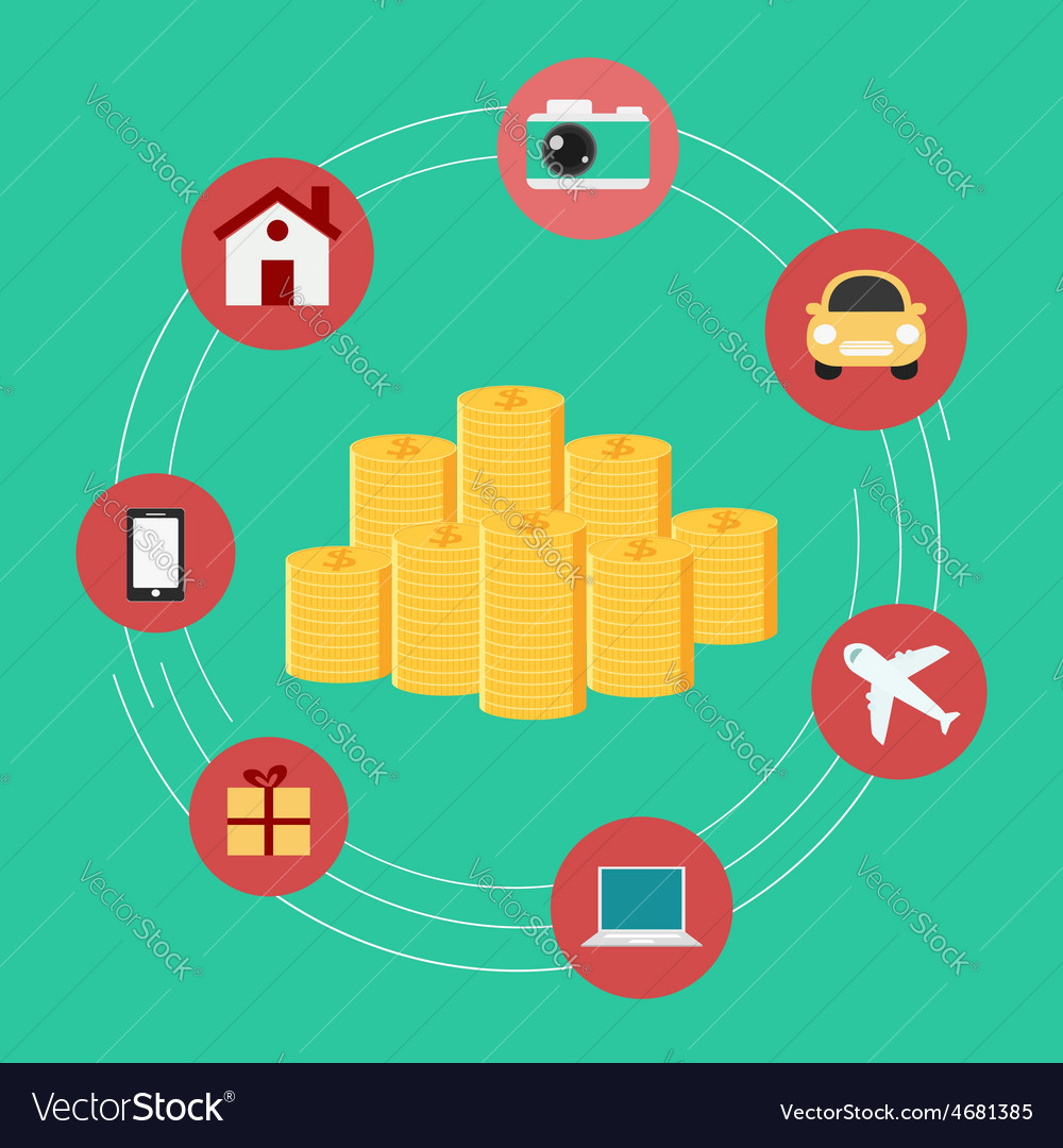 Set icons shopping money concept vector | Price: 1 Credit (USD $1)