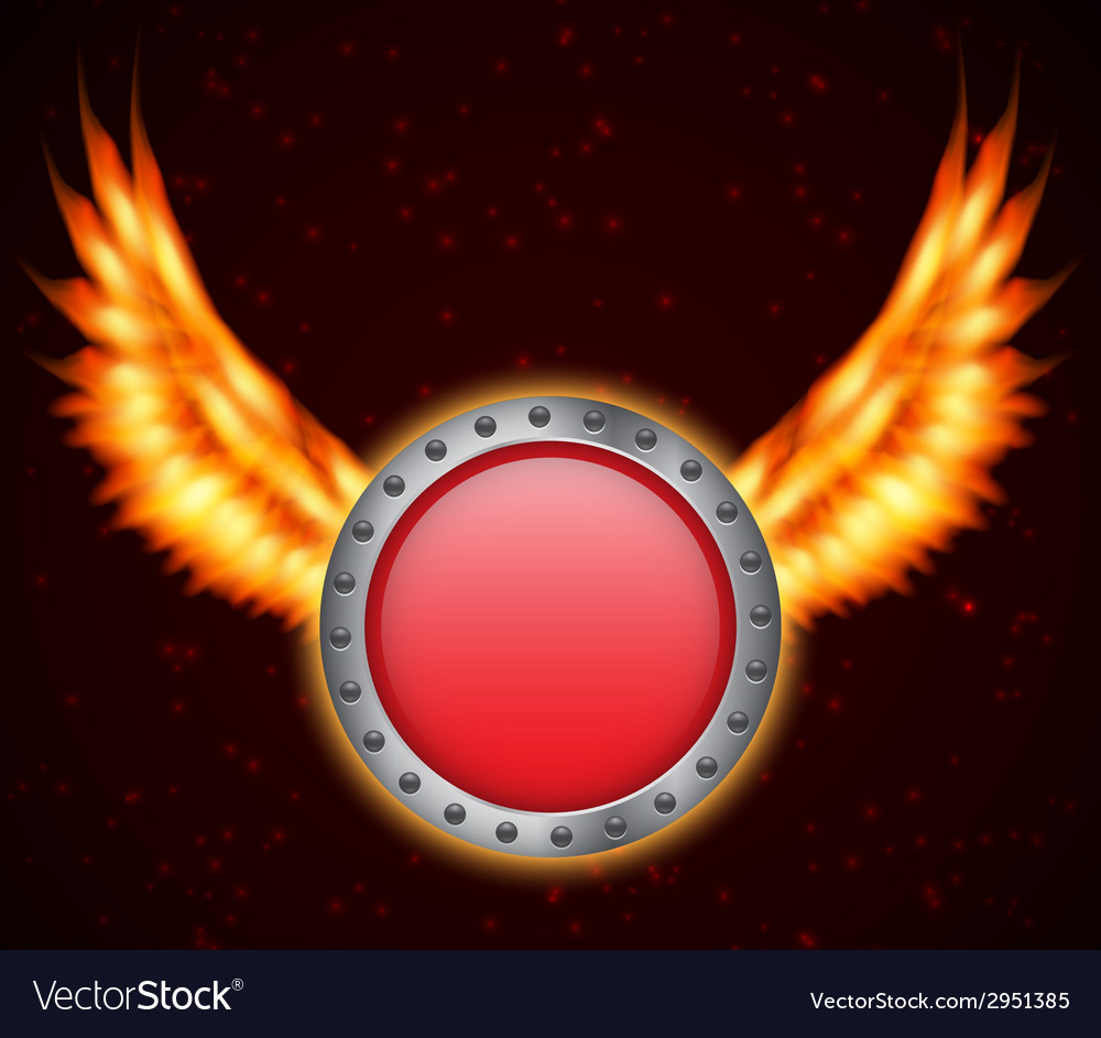 Shield with fire wings vector | Price: 1 Credit (USD $1)