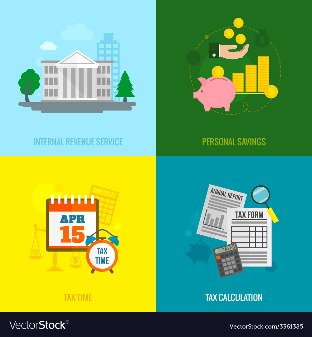 Tax flat set vector | Price: 1 Credit (USD $1)