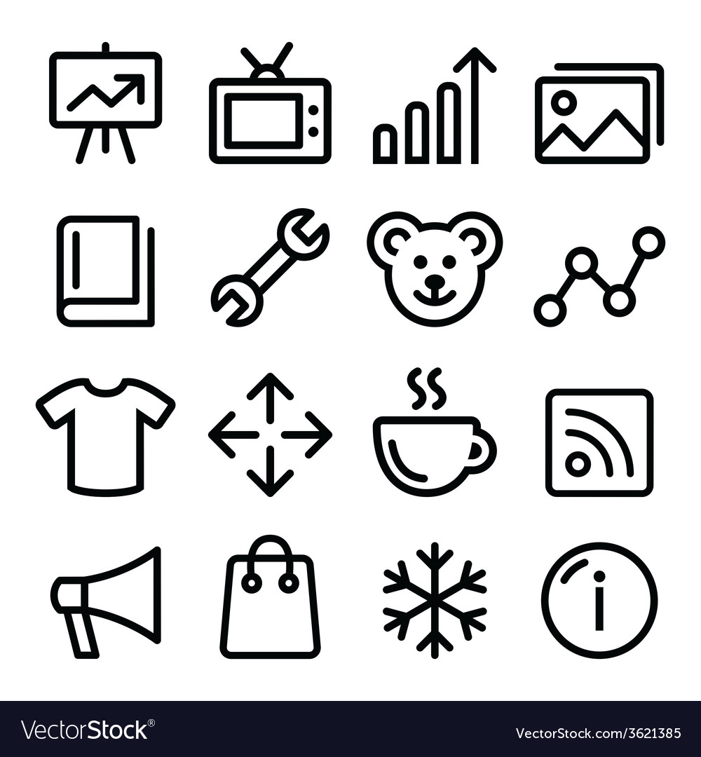 Web menu navigation line icons set - photo gallery vector | Price: 1 Credit (USD $1)