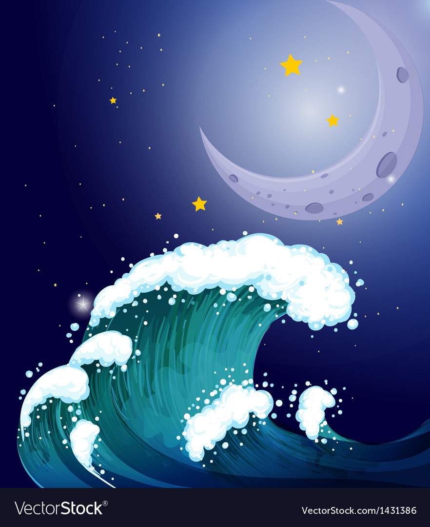 A strong wave under the moon vector   Price: 1 Credit (USD $1)