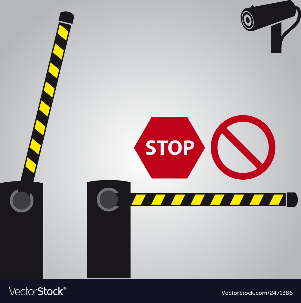 Barrier with cam and signs eps10 vector | Price: 1 Credit (USD $1)