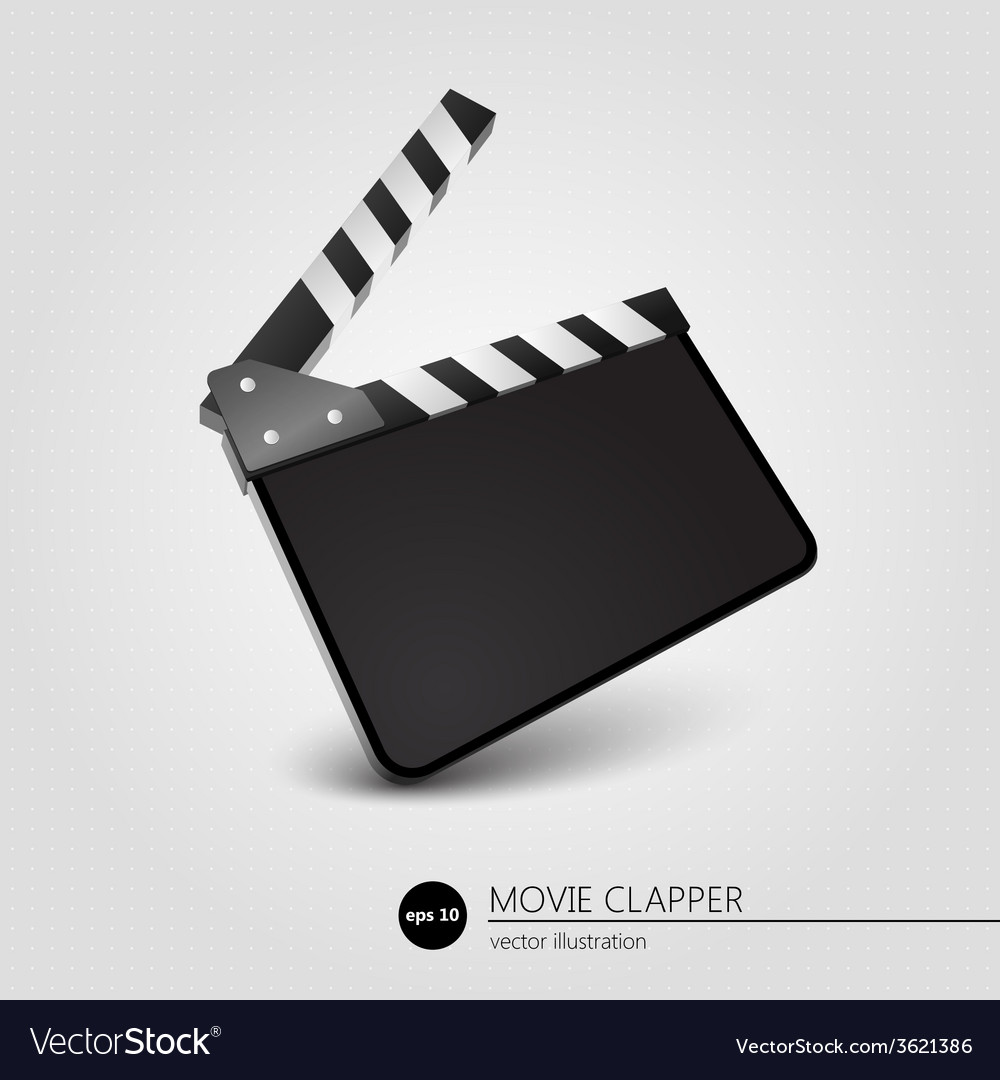 Clapper board blank movie production on white vector | Price: 1 Credit (USD $1)
