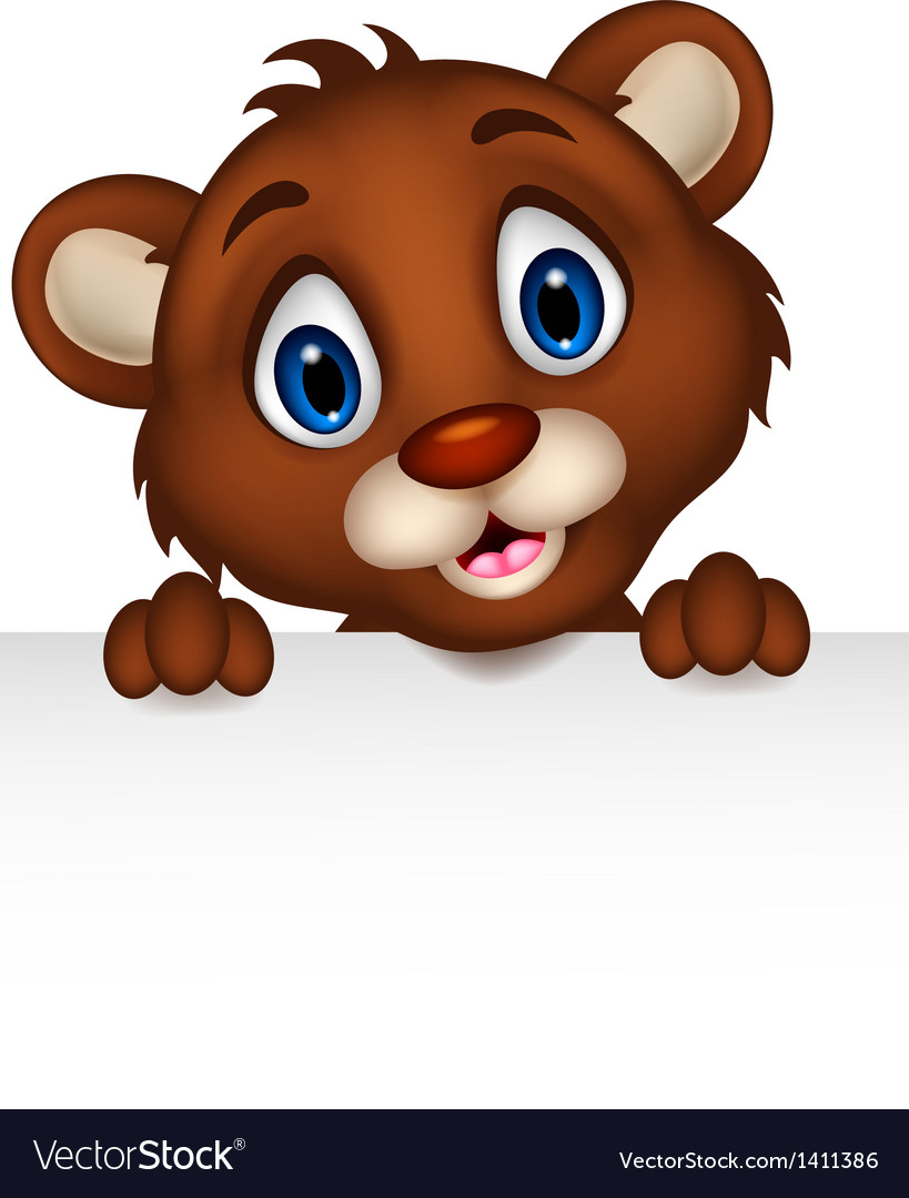 Cute little brown bear cartoon with blank sign vector | Price: 1 Credit (USD $1)