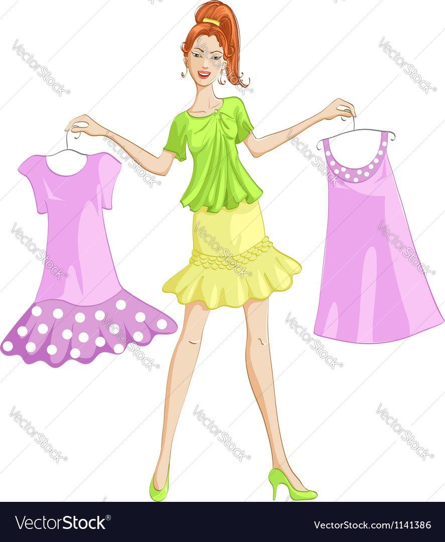 Girl choosing or showing a dress to wear vector | Price: 1 Credit (USD $1)