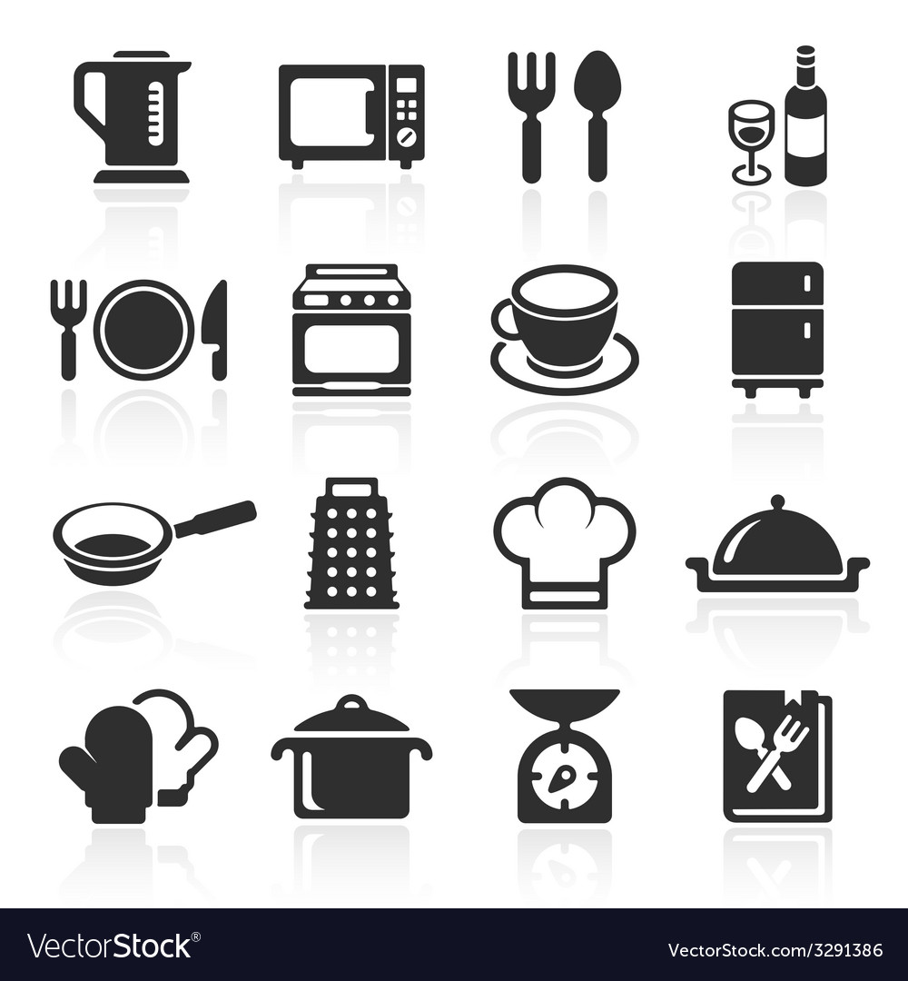 Kitchen and cooking icons white vector | Price: 1 Credit (USD $1)