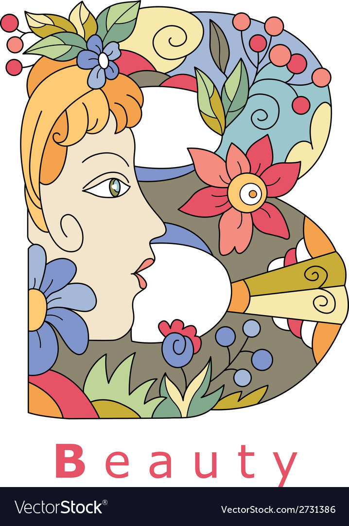 Letter b beauty vector | Price: 1 Credit (USD $1)