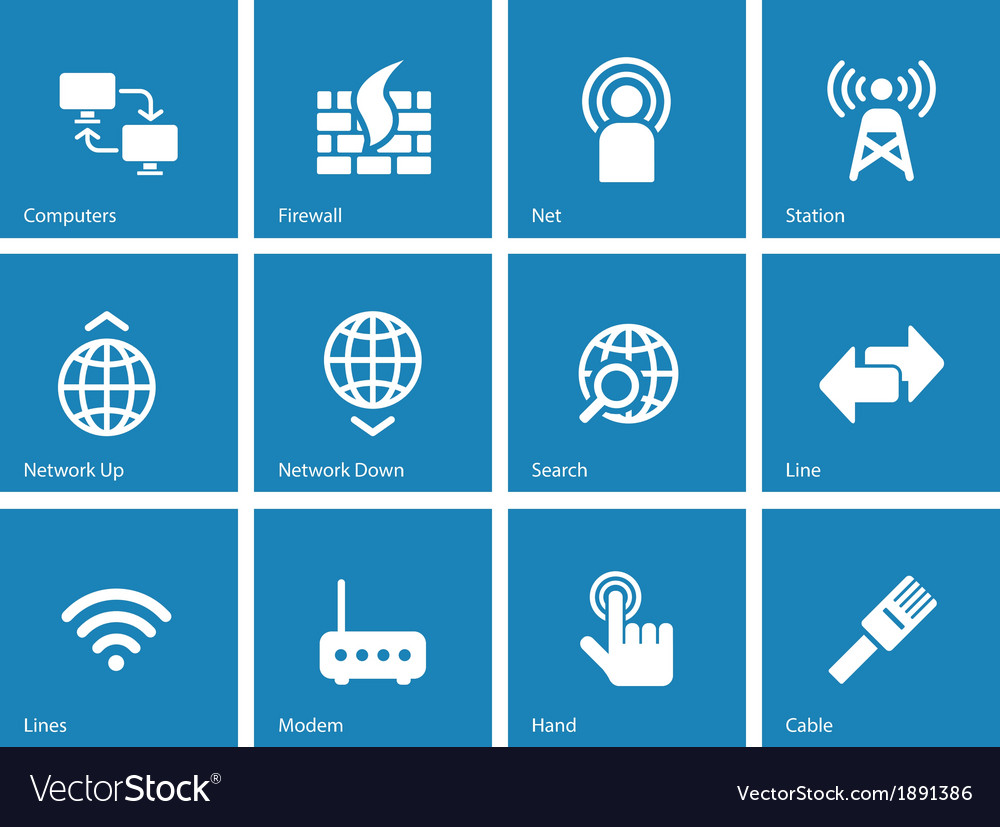 Networking icons on blue background vector | Price: 1 Credit (USD $1)